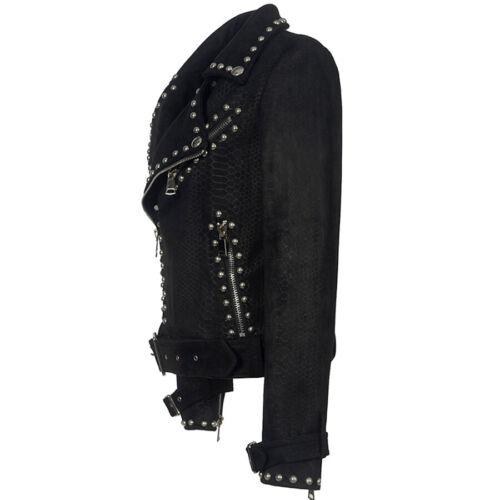 Punk Womens Rivet Studded Metal Leather Jackets Outwear Biker Motorcycle Coat Sz