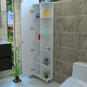 Tall Corner Bathroom 5 Side shelf Cabinet Storage With 1 Door, White MLB1319