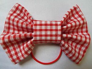 RED-GINGHAM-CHECK-SCHOOL-UNIFORM-4-INCH-BOW-HAIR-BAND-BOBBLE-GIRLS-NEW