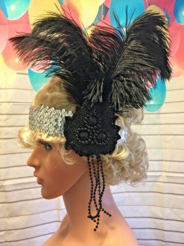 1920s Flapper Headband Black Feather Luxury  Great Gatsby Headpiece Fancy Dress
