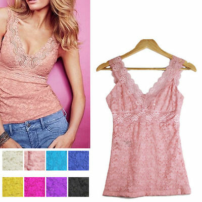 Women Lace Vest Tops Deep V-neck Sexy Casual Vest Slim Fit Sleeveless M/L