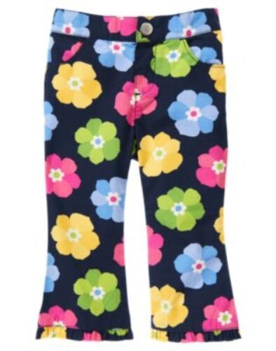 GYMBOREE SHOWERS OF FLOWERS NAVY w/ FLOWERS WOVEN PANTS 18 24 2T 4T NWT