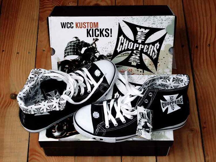 WEST COAST IN CHOPPERS Schuhe KUSTOM KICKS BLACK IN COAST STOCK WORLDWIDE SHIPPING 958742