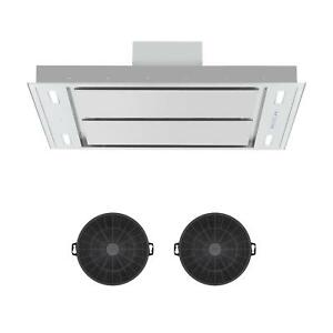 Dunstabzugshaube-Deckenhaube-Ablufthaube-Abzugshaube-Umluftset-LED-Edelstahl