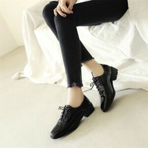 Women-039-s-Solid-Fashion-Patent-Leather-Loafers-Lace-up-Low-Heel-Casual-Shoes-NEW
