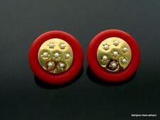 1960s TWIGGY Era rote Kunstleder &mini faux Perlen große MOD Ohrstecker Ohrringe