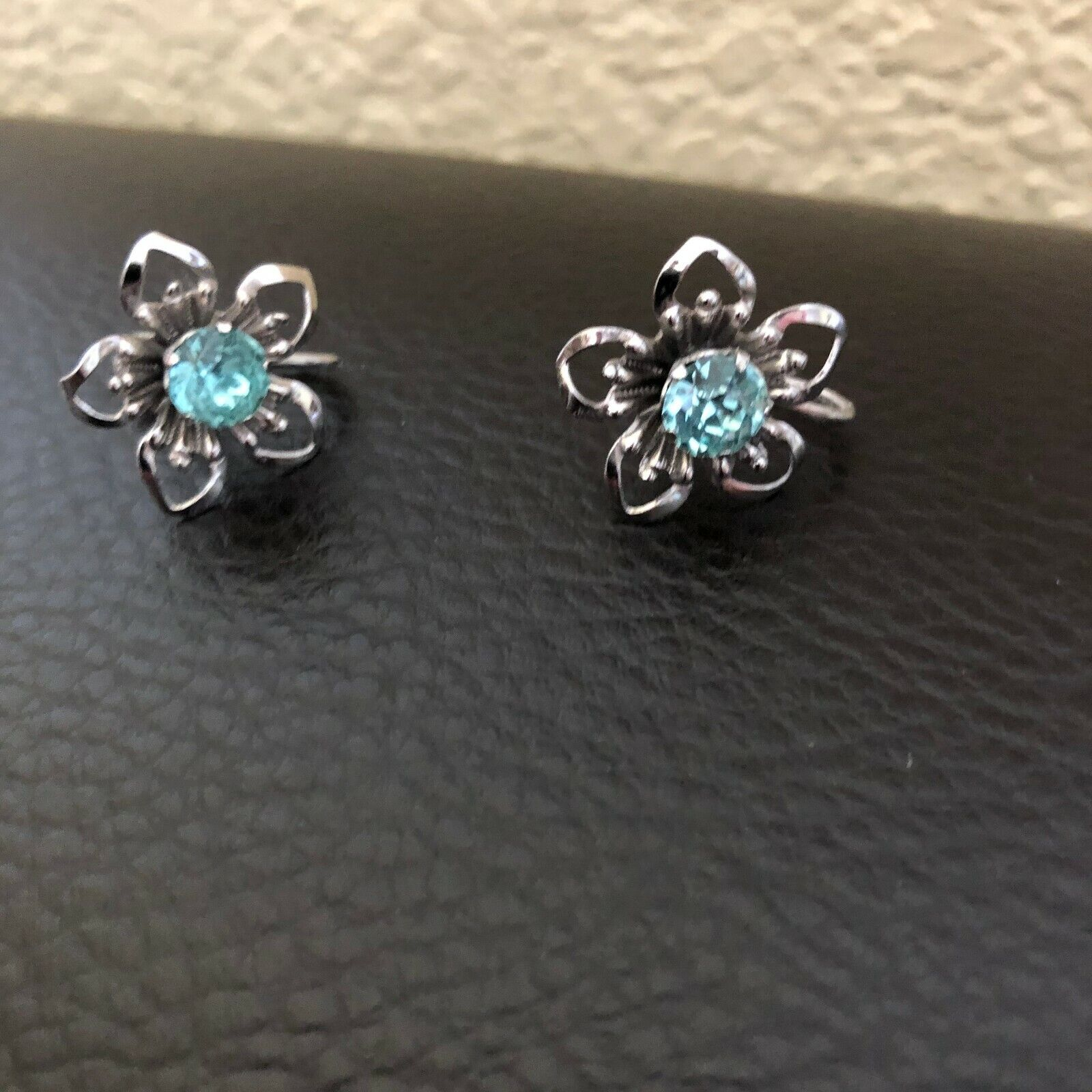 Vintage Large Spray Style Pin Blue Stones and Pearls plus Pierced Earrings