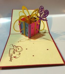 Image Is Loading Spectacular Gift Box Pop Up 3D Birthday Card