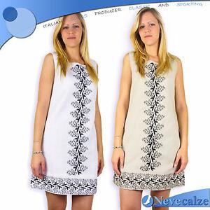 on sale bda59 fe0f1 Dettagli su Abito donna estate in fresco lino - cotone vestito corto  smanicato DEABI007