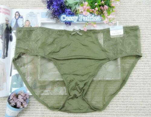 """US /""""CACIQUE/"""" Plus Size Liner Lace Microfiber Hipster Full Brief w Keyhole Back"""