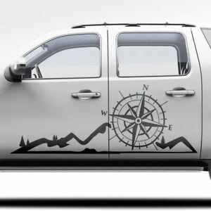 Auto-Aufkleber-Berge-Silhouette-Kompass-Natur-Landschaft-Dekor-Wald-1399-150