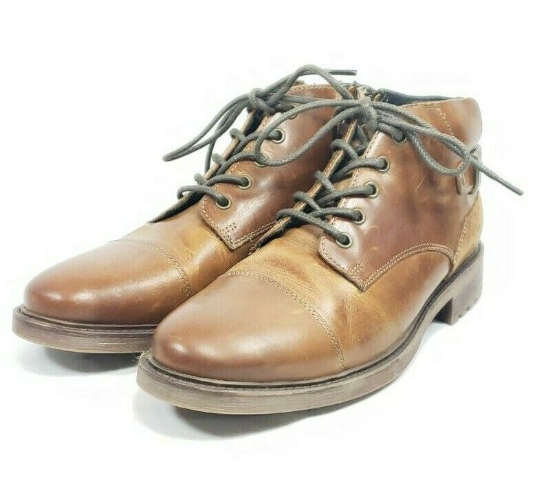 Franco Fortini Cap Toe Desert Boots Men's Sz 8 Brown Leather (tu4ep)