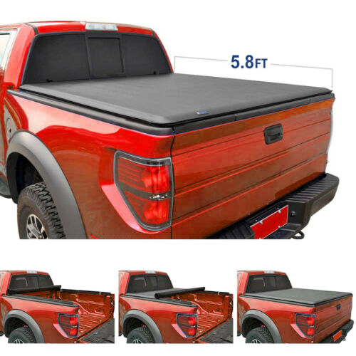 """New 5.8 Ft 68/"""" Bed Soft Roll /& Lock Tonneau Cover for Silverado Crew Cab 2004-06"""