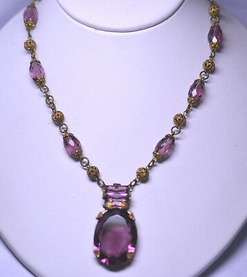 """ANTIQUE ART DECO FACETED PURPLE CZECH GLASS 16"""" NECKLACE WITH FILIGREE BEADS"""