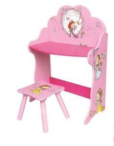 Details Sur Enfants Coiffeuse Chaise De Bureau Jeu Fille Rose Princesse Meubles En Bois Enfants Afficher Le Titre D Origine