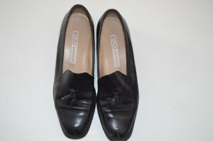 """Enzo Angiolini Women's Black 8 M Leather Slip-On Loafers Flat Shoes 1"""" heel"""