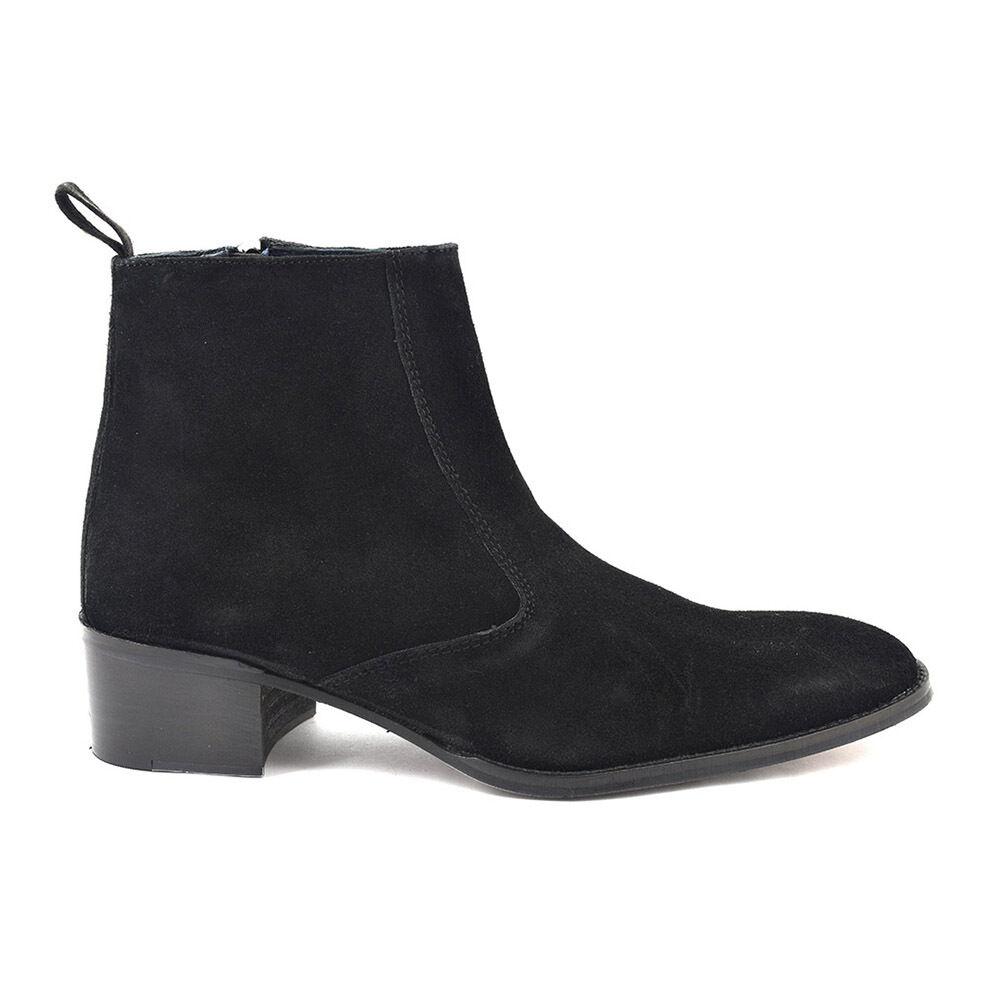 Gucinari Paul Black Suede Men'S Beat Boots Boots Boots Heel Round Toe Ankle Boot 65146b