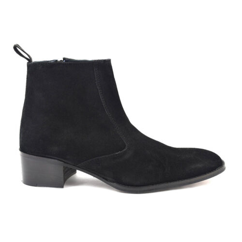 Toe Gucinari Beat Round Boot Suede Paul Men's Ankle Heel Black Boots wH8rIH