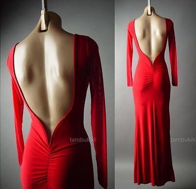 Red Mermaid Column Gown Open Back Evening Formal Ball Long 105 mv Dress S M L