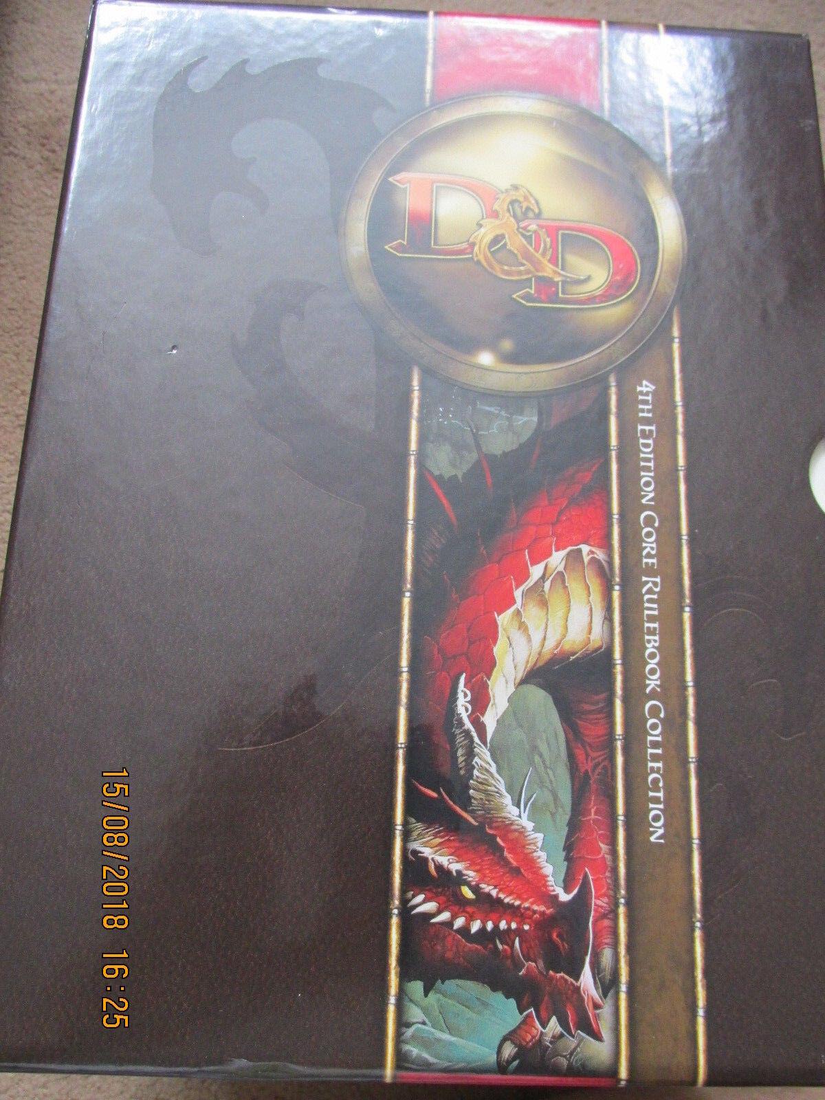 buona reputazione WOTC D&D D20 4E CORE CORE CORE RULES scatolaED PHB DMG MM  DUNGEON DRAGON VGC RPG  più ordine