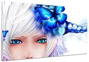 Quadro moderno manga farfalla blu cm stampa tela
