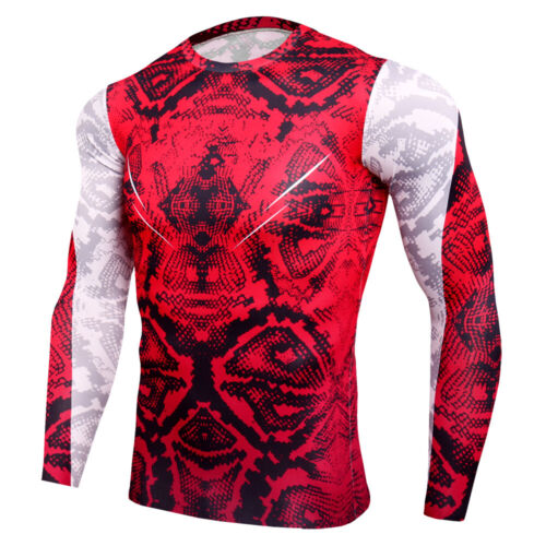 Mens Athletic T-Shirt Long Sleeved Quick dry Crew Neck Running Gym Training Tops