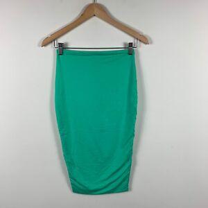 Kookai-Womens-Skirt-Size-1-AU-6-Stretchy-Green-Pencil-Skirt