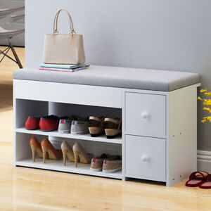 Groovy Details About 2 Tiers Ottoman Shoe Storage Bench Cabinet With 2 Drawers White Footwear Rack Uk Pdpeps Interior Chair Design Pdpepsorg