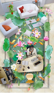 3D Lotus Koi Estanque 834 Papel de parojo de Piso Impresión De Parojo Murales AJ Wallpaper Reino Unido Limón