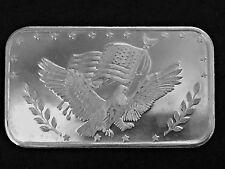 Eagle And Flag Silver Trade Unit  1 Troy oz .999 Fine Silver Art Bar AQ8
