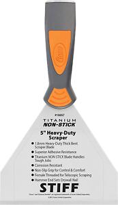 "Clauss 18857 5/"" Titanium Non-Stick Stiff Heavy Duty Bent Scraper with Threaded"