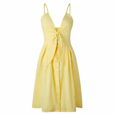 UK Boho Womens Strappy Bow Neck Button Ladies Summer Beach Midi Swing Sun Dress