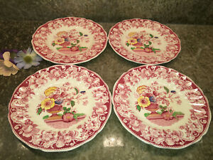 Set-Of-4-Antique-Royal-Doulton-POMEROY-RED-Bread-amp-Butter-Plates-6-1-4