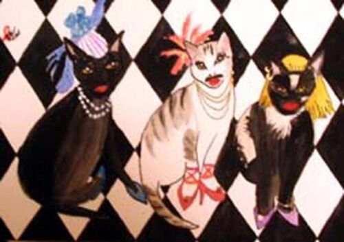 ACEO Freddie Mercury/'s 3 male cats in drag fan tribute from Original WC painting