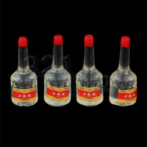 4 pcs. Dollhouse Liquor Bottles Resin Miniatures Alcoholic Beverages 1:12 Scale