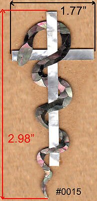 Pegasus Headstock inlay in White Gold /& Black Mother of Pearl 1.5mm thick #PH72