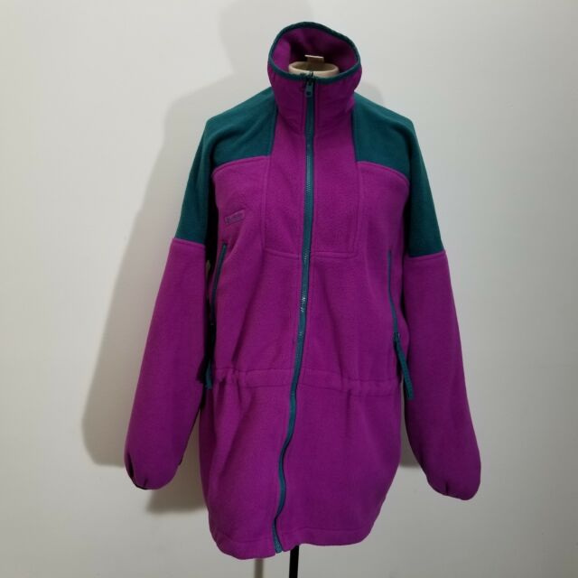 8050dc5b5f5c5d Vtg Columbia Womens Fleece Parka Jacket Size L Cinch Waist Color Block Zip  Up
