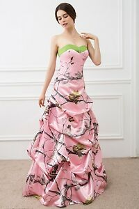 e3293b588e9 Details about New Pink Camo Wedding Dresses Formal Ball Gown Camouflage  Bridal Gowns Custom