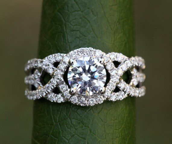 Certified 2.75ct Round Cut Moissanite 10K White gold Unique Twisted Wedding Ring