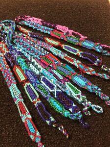 Details About Hand Wove1 Dozen 12 Friendship Bracelet Bracelets Woven Multicolor Hippy Uni