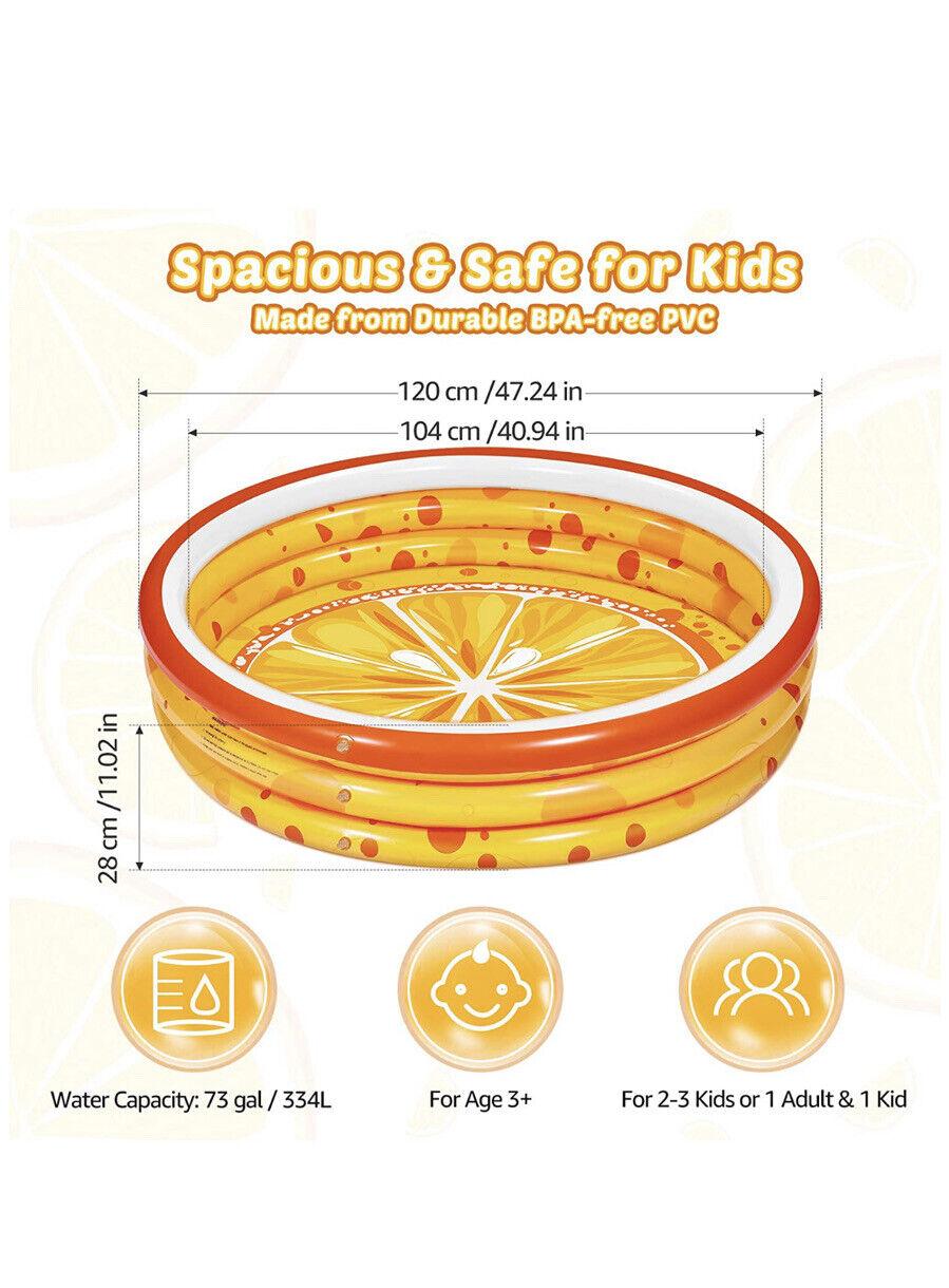 iBaseToy Paddling Pools for Kids, 120 x120 x28 cm, Orange 3 Rings Inflatable