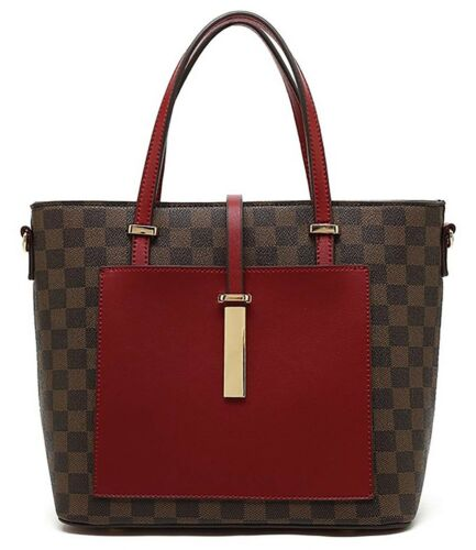 Various colours available Designer Inspired check tote bag