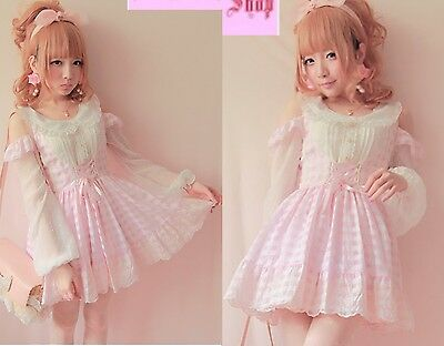Girls Princess Dolly Lolita Kawaii Party Wedding embroidery Dress Plaid Pink