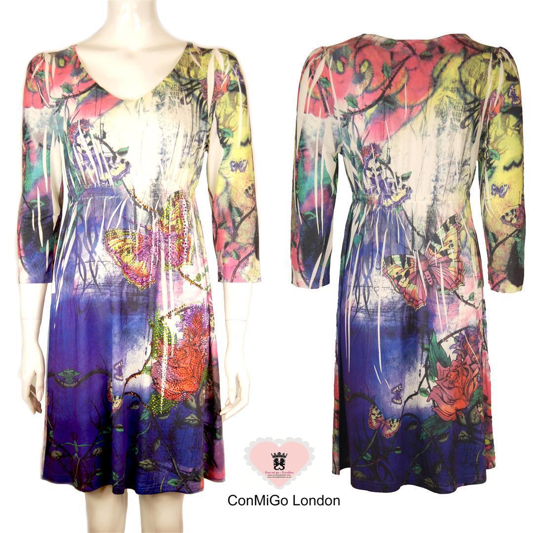Party Dress - sequined embelished Flora Print Jersey Dress - pink