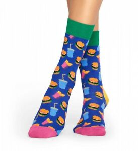 achten Sie auf Original wählen exquisite handwerkskunst Details zu Happy Socks Socken - Hamburger, Pommes Frites und Drink blau /  bunt 36-40+41-46