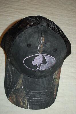 Mens Baseball Cap MOSSY OAK HAT Black Leafy Camo PLASTIC MESH BACK Strapback