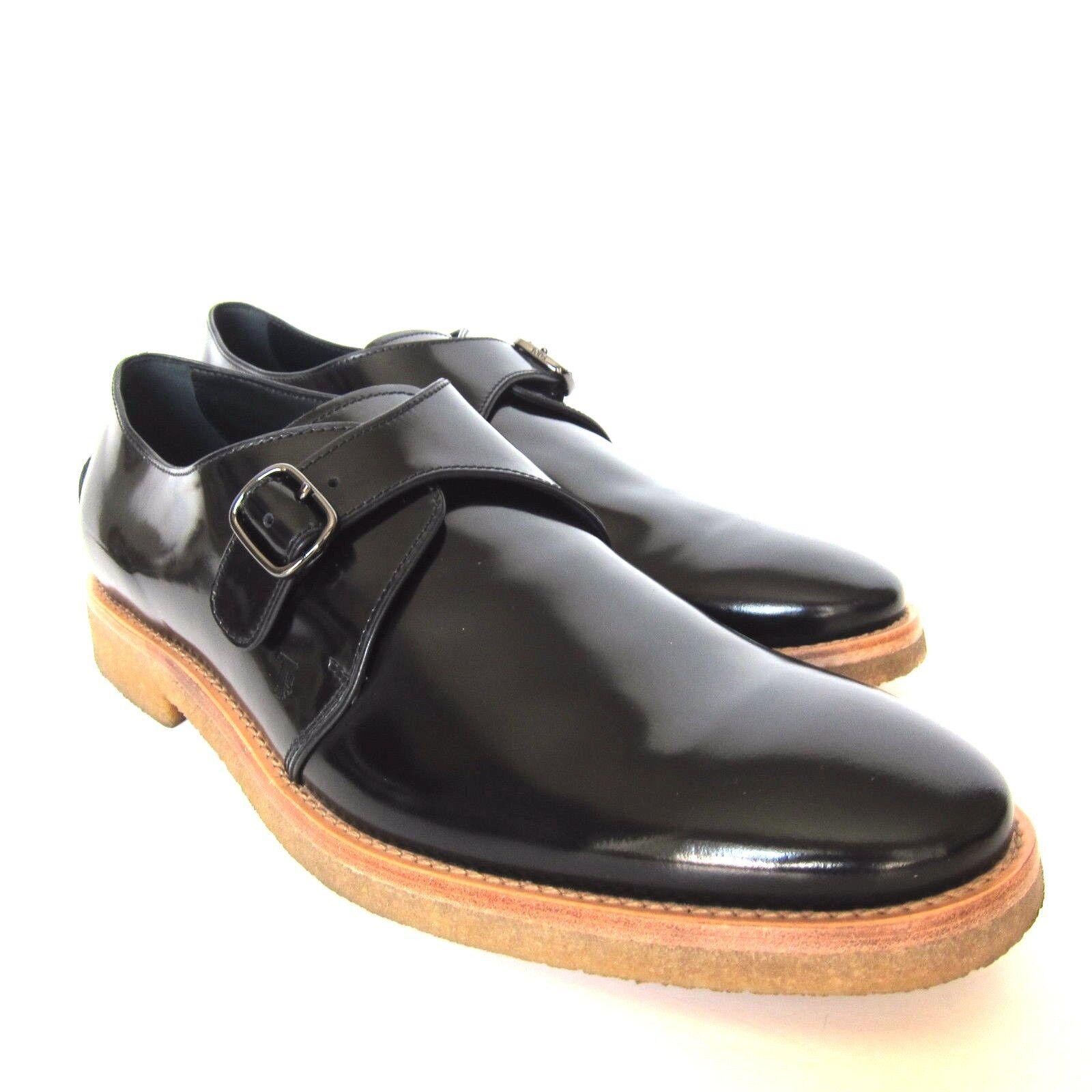 W-813149 Nuevo Tods Negro Charol Charol Charol Lado Hebilla Zapato Marcado Talla 10.5 US-11.5 27b2b7
