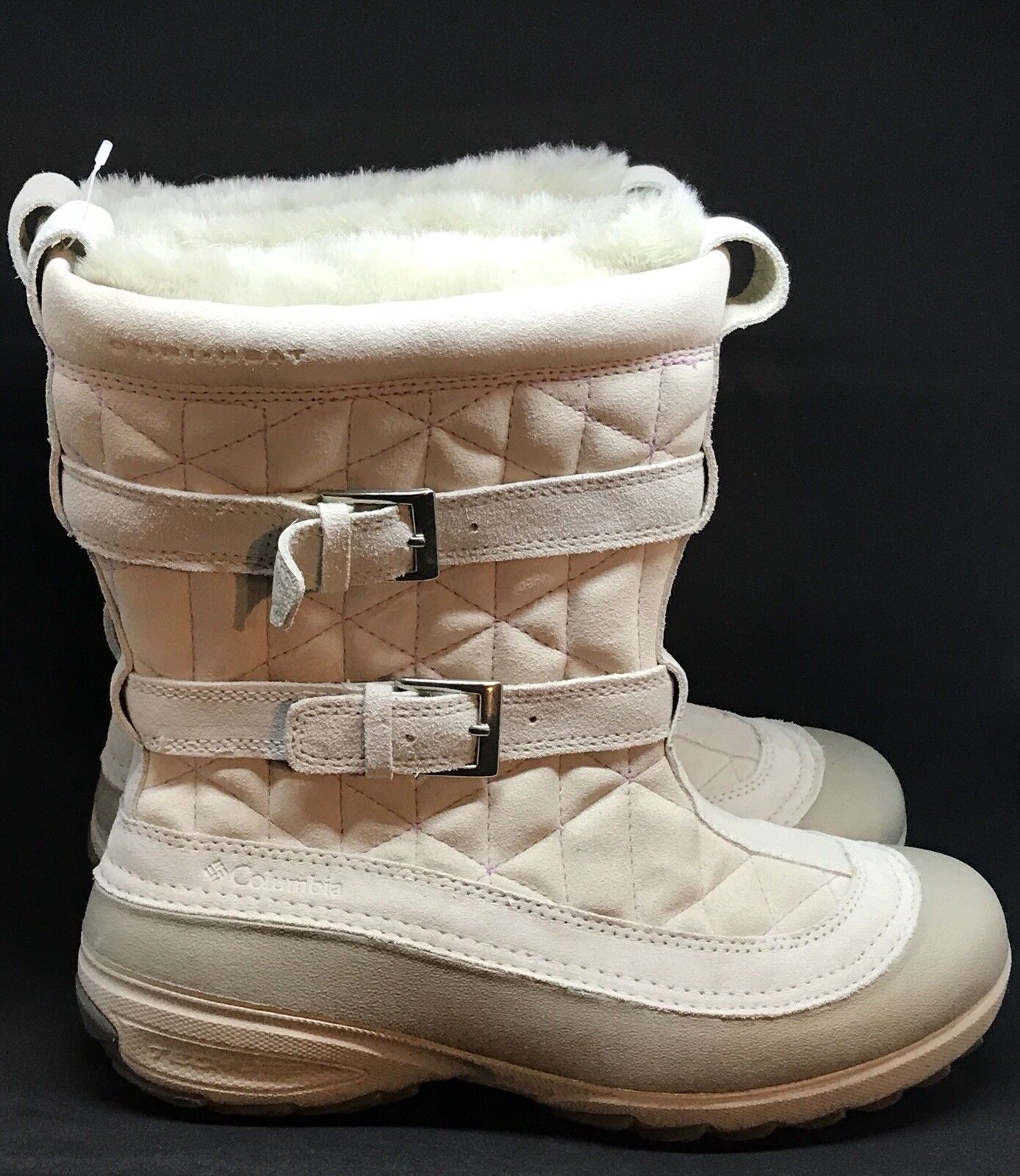 Columbia Omni-Heat Techlite Boots Snow Pull on Nude Quilted Suede size: 9 NWOB