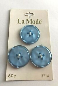 Vtg-Card-3-Turquoise-Blue-Plastic-7-8-034-La-Mode-Buttons-Marked-Japan