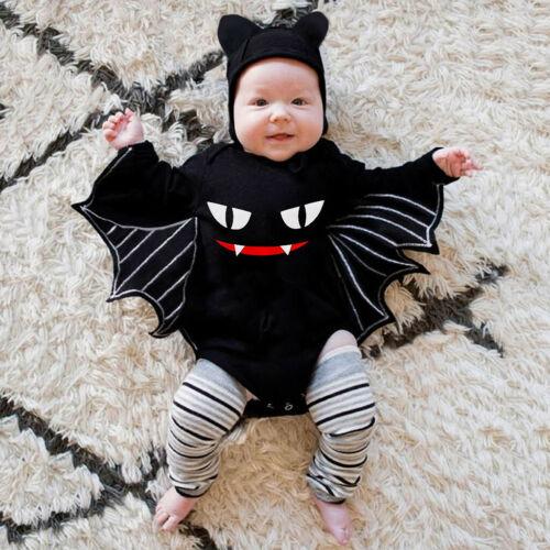 Newborn Baby Boys Girls Halloween Cosplay Costume Romper Bodysuit+Hat Outfit Set